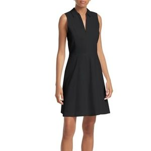 Theory Black Stretch Cotton Collared Flare Dress 8